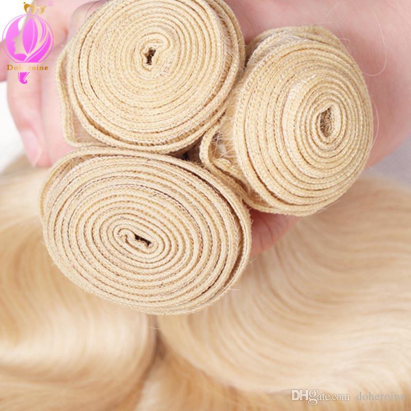 Brazilian 613 Blonde Hair Weave Bundles With Closure Honey Blonde Human Hair Bundles With Closure Non Remy Hair