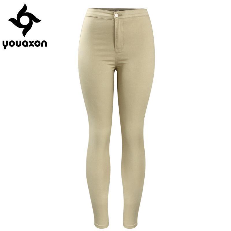 00f9c489b0a12 2039 Youaxon Femmes Chaud Curvy Taille Haute Extensible Kaki Jean Pantalon  Maigre Crayon Femme Jeans Femme S18101601