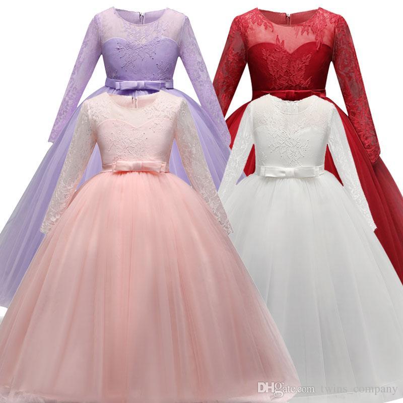 1bf0a42c151e 2019 Girls Long Dress Fancy Kids Crystal Dresses Flower Tutu ...