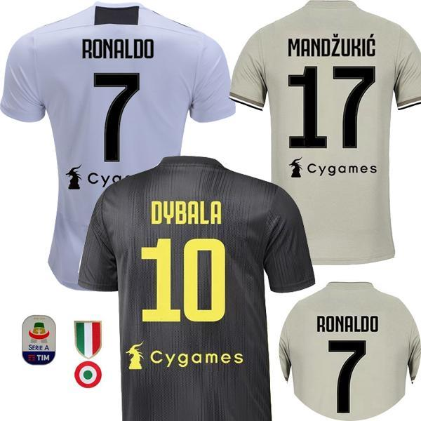 new product c7de1 051bd TOP Thai 2018 2019 DYBALA #7 RONALDO soccer jersey away 18 19 JuventusING  best thailand D. Costa MANDZUKIC juven Juventus football shirt