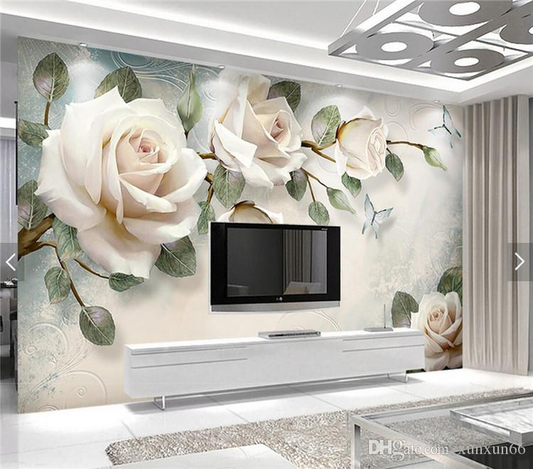 유럽의 벽지 화이트 장미 꽃 벽화 사진 배경 화면 거실 벽 종이 3D papel pintado pared roll papel de parede