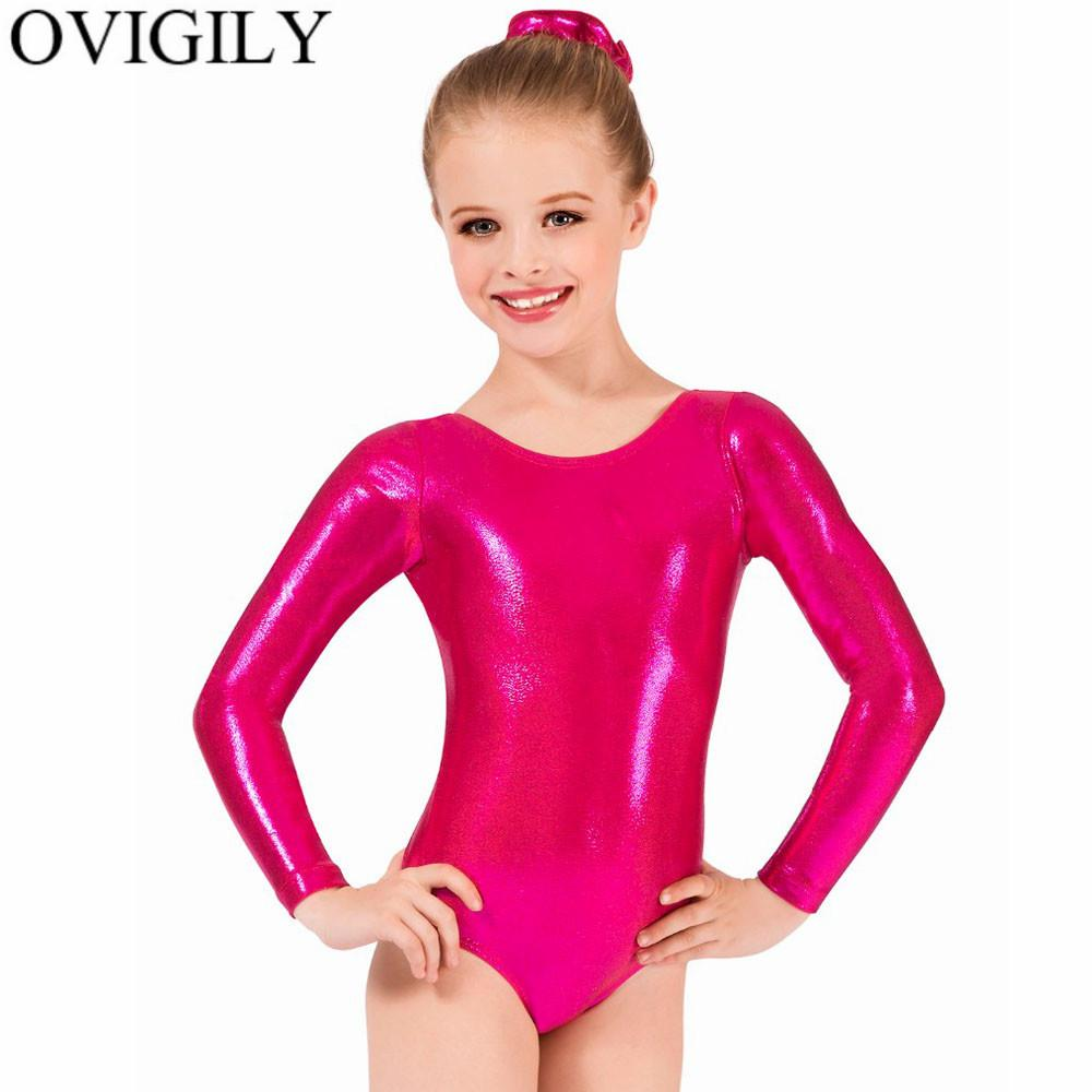 a75d8a12f6ab 2019 OVIGILY Girls Shiny Metallic Long Sleeve Leotards Gymnastics ...