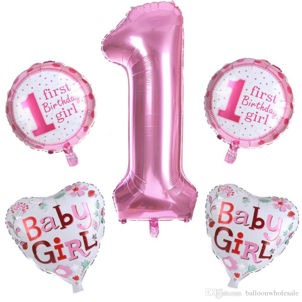 Baby 1st Birthday Balloons Set Pink Blue Number Foil
