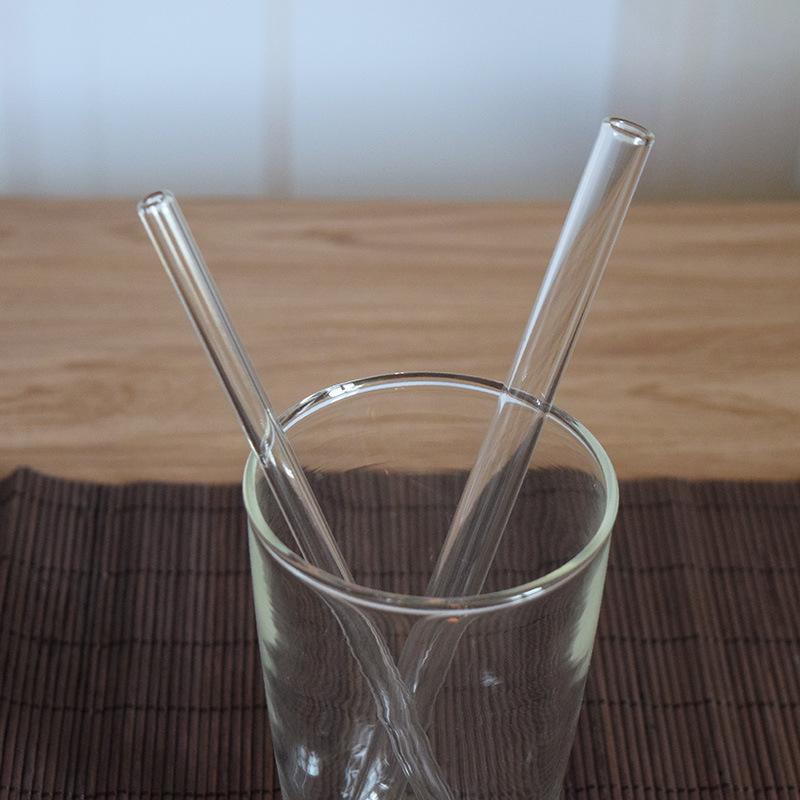 High Quality Clear Glass Drink Straw 6-14mm Reusable Wedding Birthday Party Clear Glass Drinking Straws Thick Straws