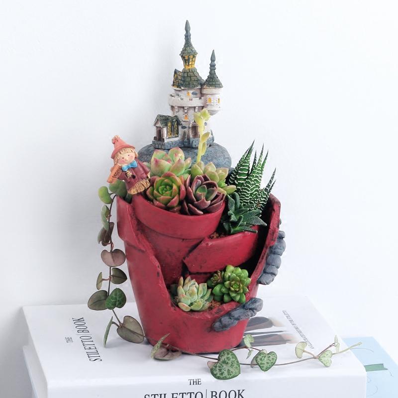 Neue Ankunft Magie Schloss Blumentopfe Harz Blumentopf Sukkulenten Topfe Fee Garten Bonsai Pflanzer Hausgarten Dekoration