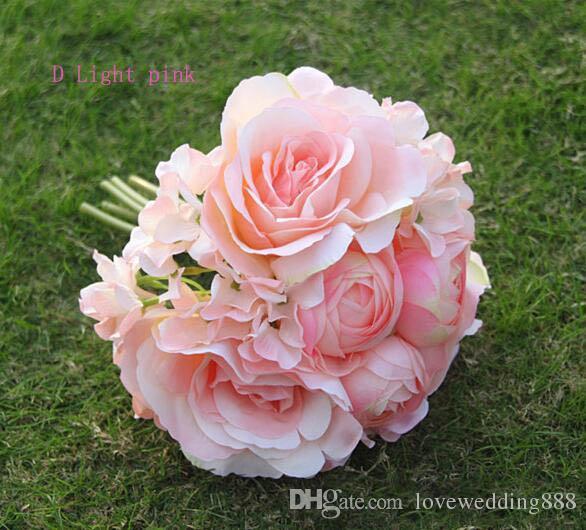 2018 Barato Recién Llegado de Alto Nivel Nupcial Ramo de Boda Colorida Mezcla Artificial Rose Flower envío gratis