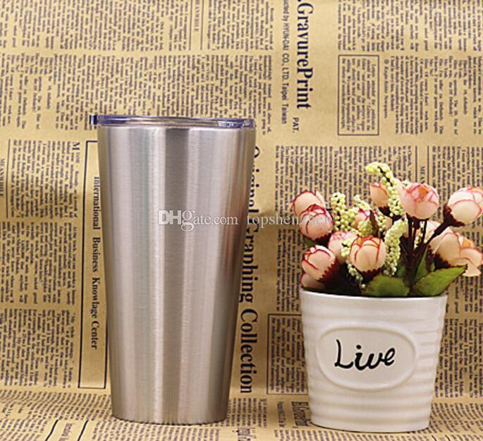 New 16oz Tumbler Stainless Steel Vacuum Insulated Double Wall 16 oz Tumbler with clear lids Travel Mug with Clear Lids
