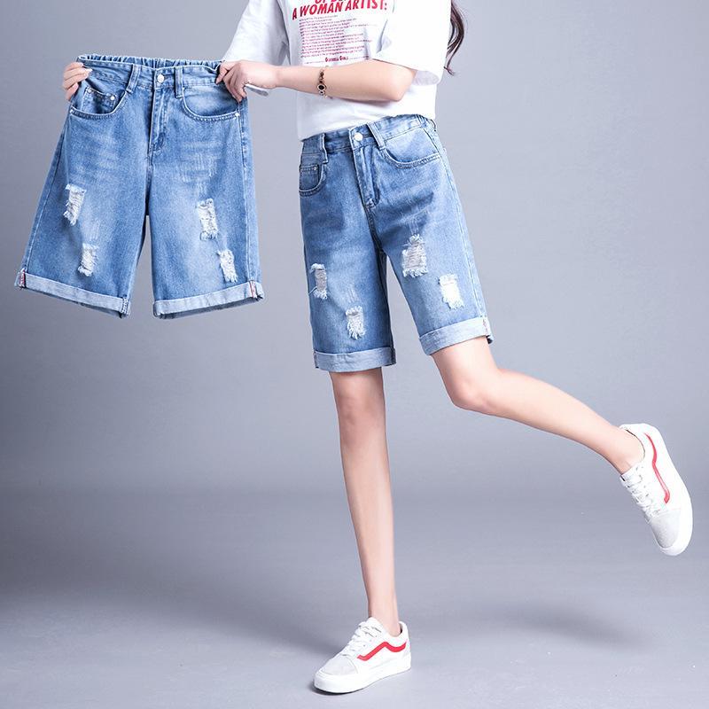 Compre Plus Size 5XL Denim Shorts Womens Verão Elástico Na Cintura Shorts  Jeans Feminino Solto Buraco Curling Curto Casual Jeans Rasgado Roupas De ... b7b971a7d9336