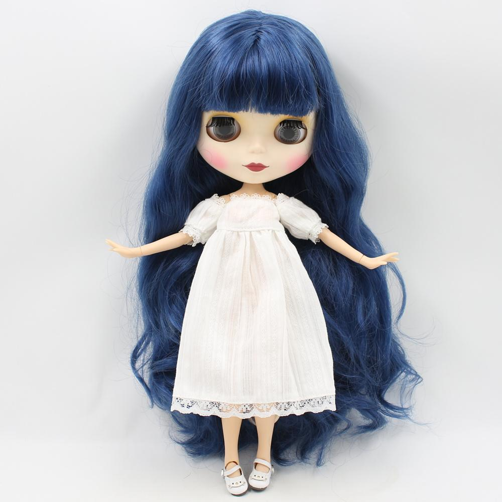 Blyth Nude Doll With Long Wavy Deep Blue Hair Withno Bangs 30 Cm