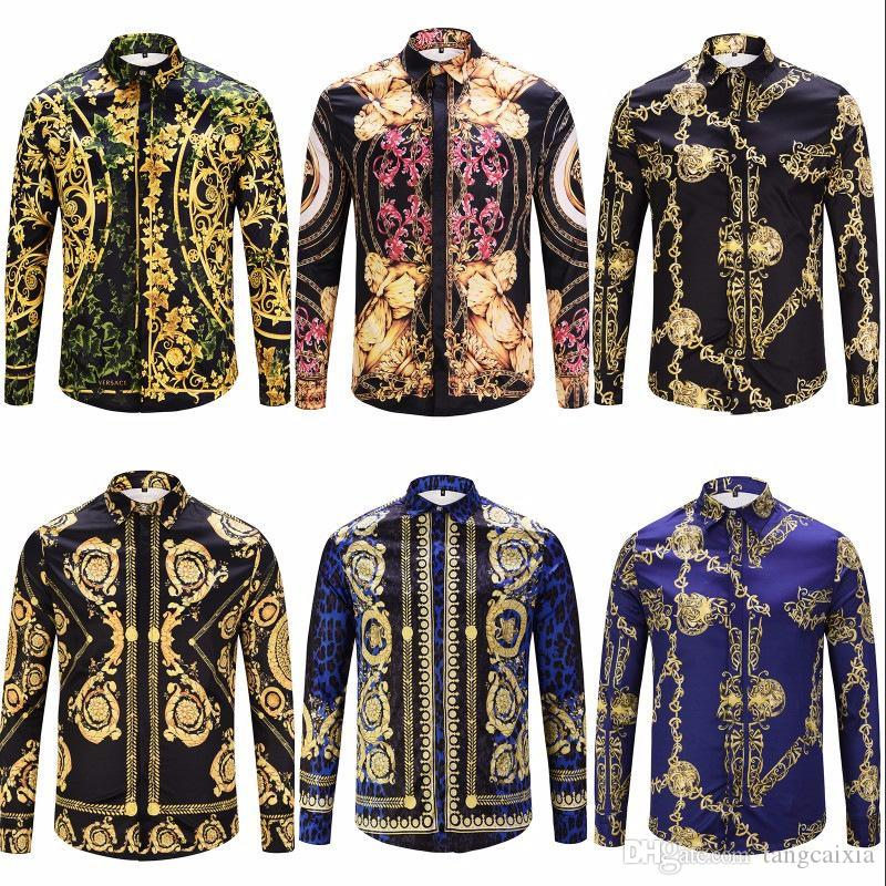 4c80d244f0 Compre Camisa De Oro Para Hombres Nueva Camisa De Manga Larga Con Estampado  3D Masculina Social Chemise Homme Tops De Moda Ropa A  42.93 Del Tangcaixia  ...