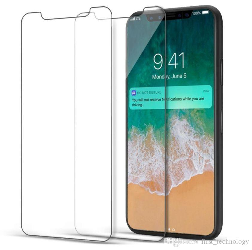 Iphone XR XS Max Temperli Cam Iphone 8 Artı Ekran Koruyucu Iphone 6 s 7 Artı Filmi Perakende paketi Ile Samsung Prime Için Premium kalite