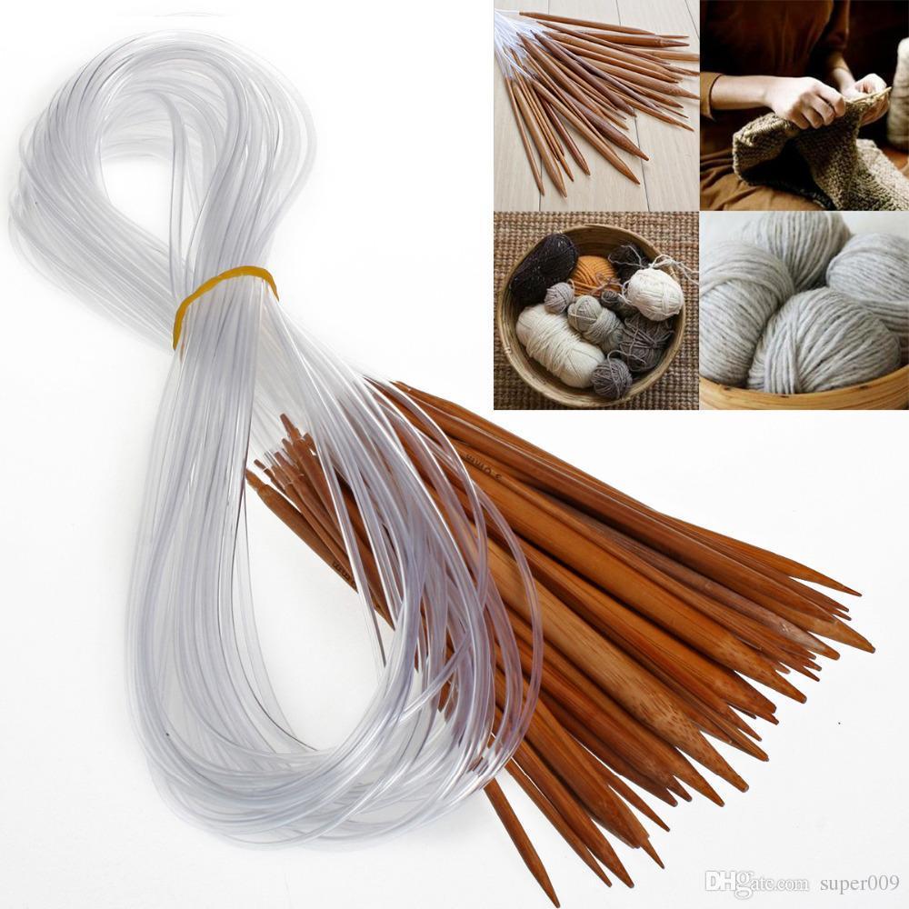 1 Set 18 Formati Afgano Tunisino Carbonizzato Fai Da Te Circolare Bambù Aghi Uncinetto Aghi Ferri Da Maglia Tessitura Tubo