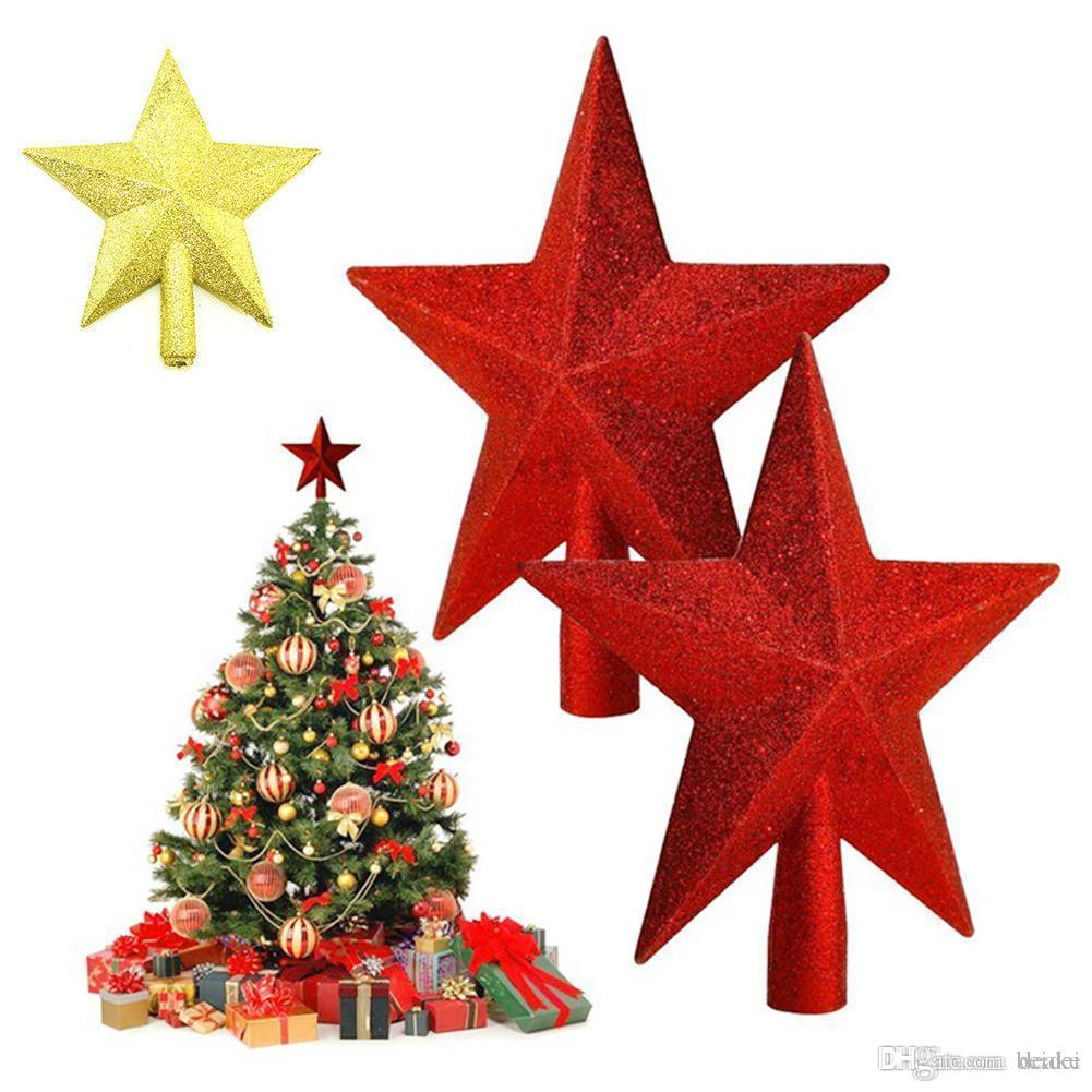 Wholesale Christmas Tree Topper Supplies Silver Gold Red Powder Christmas Toppers Star Tree Ornaments Xmas A5