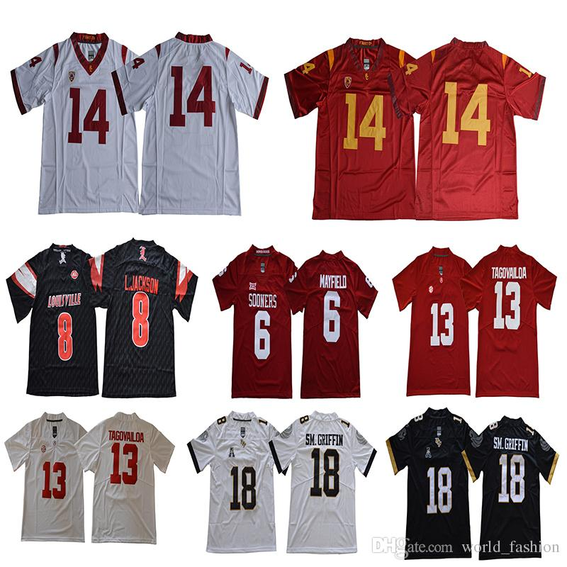 2019 8 Johnson Oklahoma Sooners 6 Baker Mayfield Sam Darnold 14 Tua  Tagovailoa 13 Jersey University Of Central Florida 18 Shaquem Griffin From  World fashion ... cddd364d7
