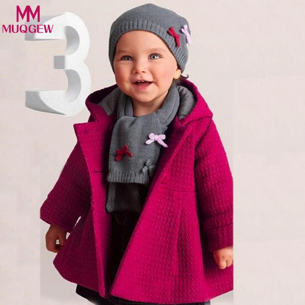 b27701a18630 Toddler Baby Girl Autumn Winter Jacket Hot Pink Hoodded Overcoat ...