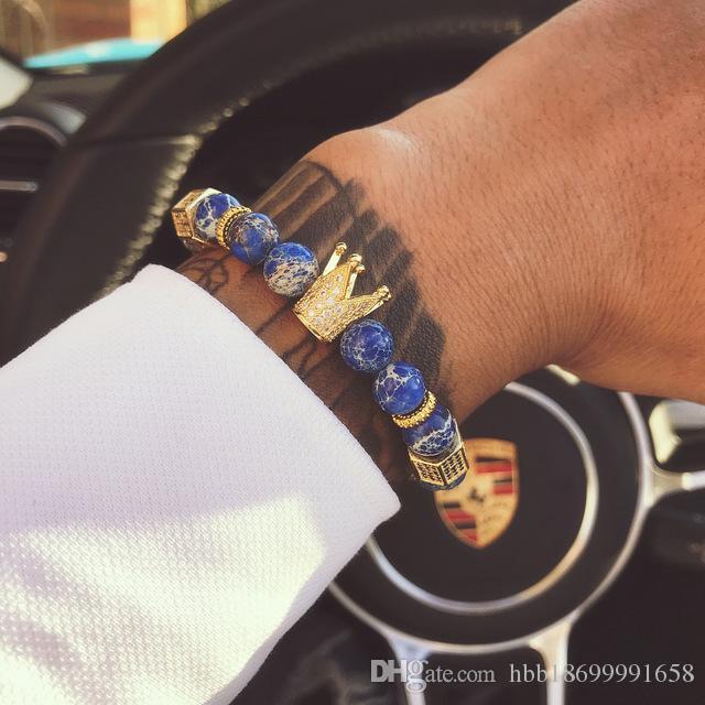 Le bracelet breloques 8mm pierre naturelle bracelets hommes micro inclusions de couronne de zircon mat noir onyx bracelet femme pistolet