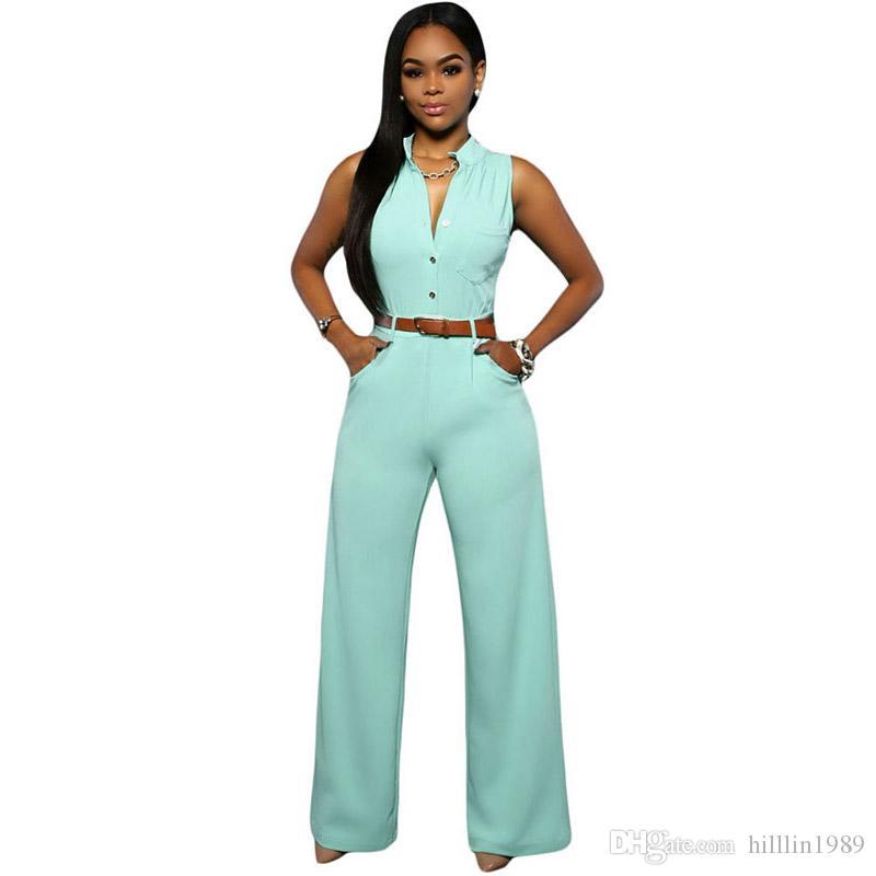 플러스 사이즈 패션 여성 점프 슈트 V 넥 대형 아프리카 Rompers 민소매 슬림 피트 와이드 레그 캐주얼 의류
