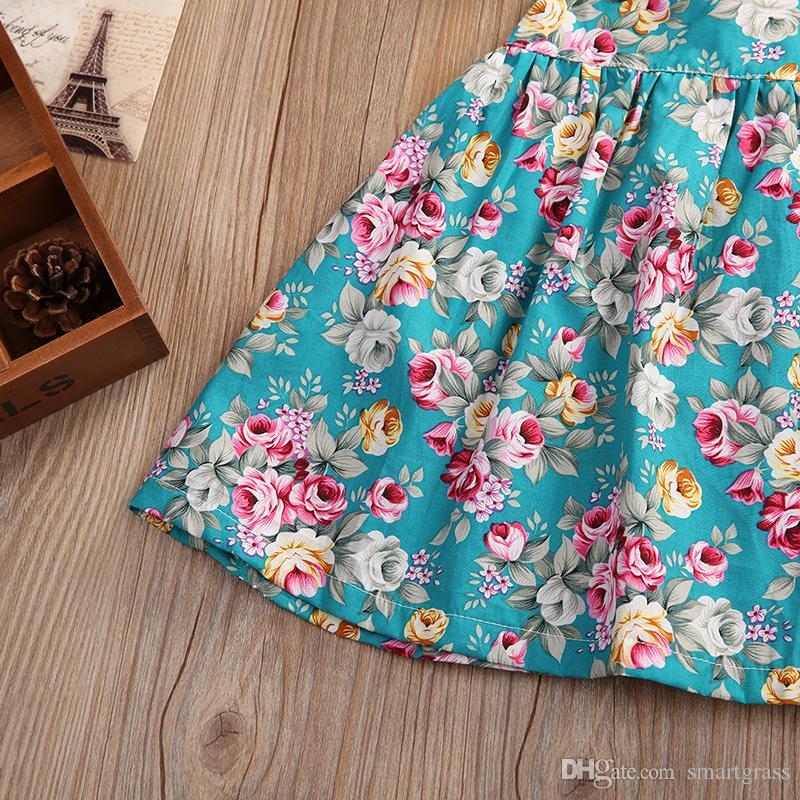 꽃 여자 드레스 PP 반바지 껍질이없는 소매 백리스 아기 소녀 옷 면화 여름 캐주얼 드레스 18031202