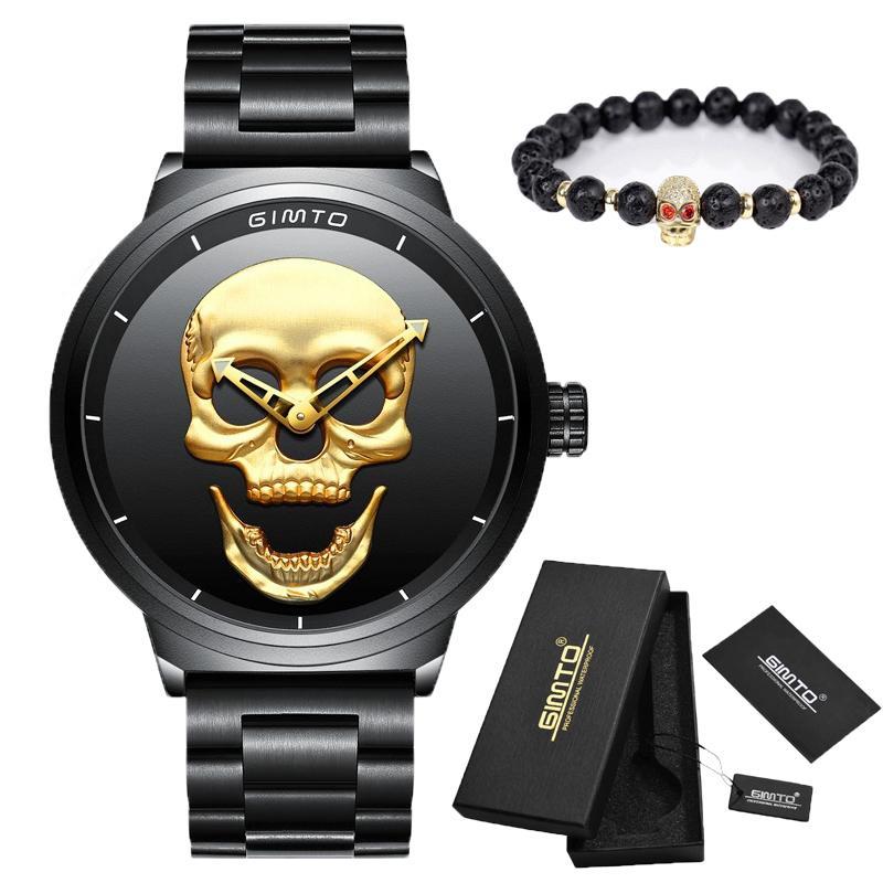 d9bf47a227c Compre Marca De Luxo Do Punk Crânio 3d Homens Relógio De Ouro Preto Cheio  De Aço À Prova D  água Relógio Militar Masculino Esporte Militar Relógios  De ...