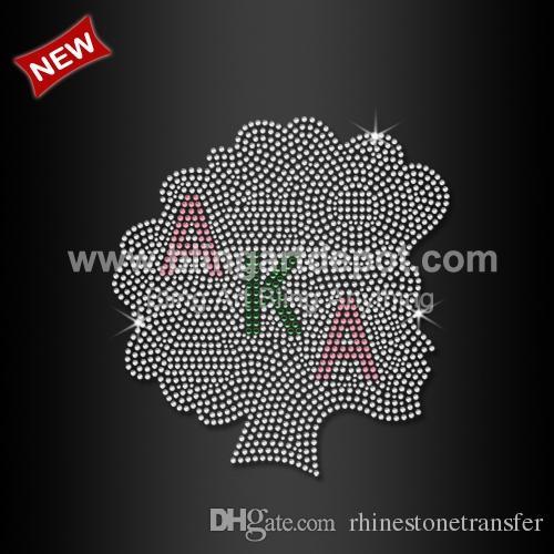69354aa7f6 Iron On AKA Afro Girl Rhinestone Heat Transfers Custom Design Available  20pcs/lot Free Shipping