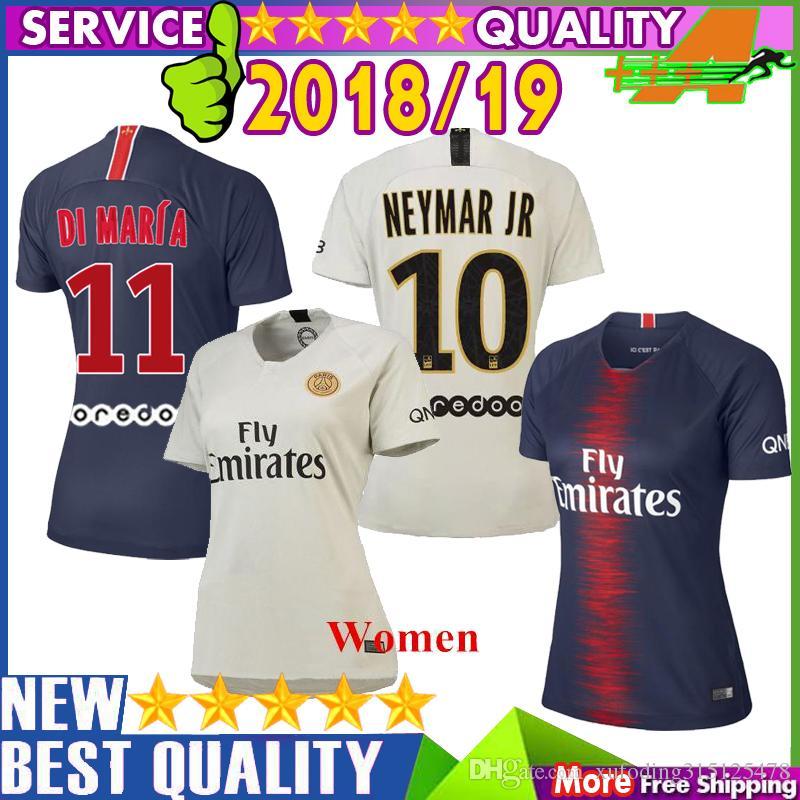 PSG 2018 2019 MBAPPE CAVANI Camisetas De Fútbol Mujer PSG Jersey De Fútbol  Mujer Paris Saint Germain 18 19 PSG DI MARIA Camiseta De Fútbol Por ... ce6fcf40ee0f0