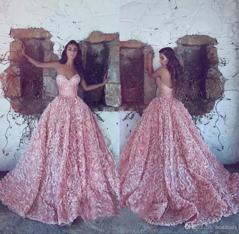 2018 Pink Sweetheart Evening Dresses A-Line 3D Applique Prom Gowns Back Zipper Sweep Train Custom Made Formal Party Luxury