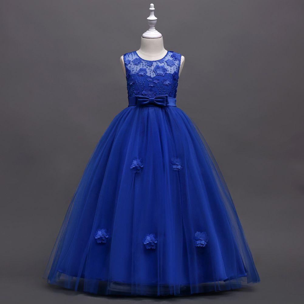 Designer Appliqued Bow Wedding Dresses for Girls Bead Piano Costume Ball Gowns Kids Dresses Sleeveless Ankle-Length Girl Evening Dresses