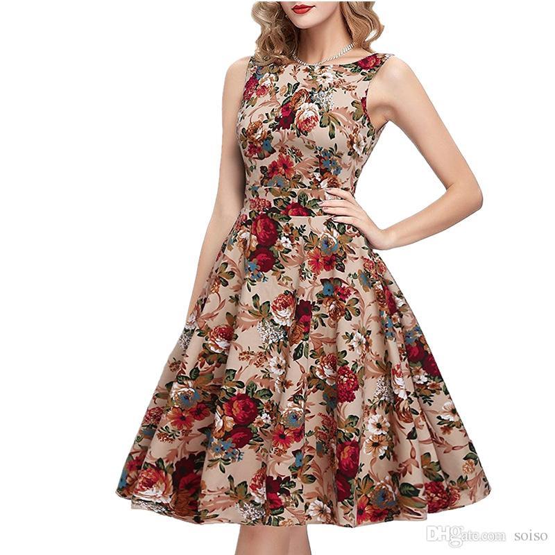 edbec42b2c2c Moda mujer vestido Hepburn tallas grandes ropa para mujer Vestido informal  retro cuello redondo Vestidos de fiesta sin mangas columpio vintage ...