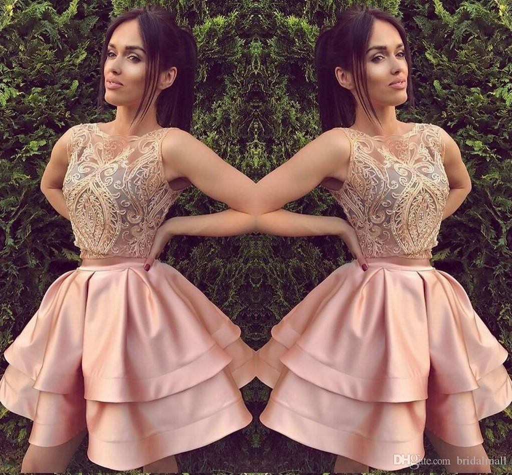 012862a04ad00 Blush Pink Sheer Lace Top Short Homecoming Dresses Tiers Ruffles Two Pieces  Prom Cocktail Dresses Zipper Up Little Mini Party Ball Gowns