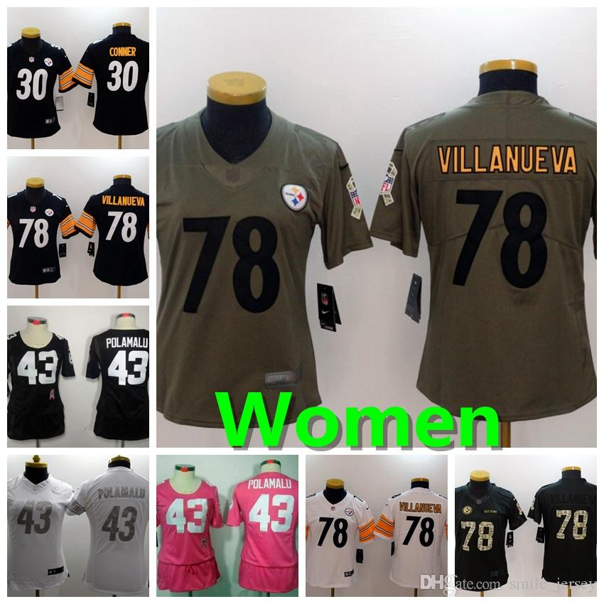 wholesale dealer 56b51 2fd63 2019 New Women 30 James Conner Pittsburgh Jersey Steelers Football Jerseys  43 Troy Polamalu 78 Alejandro Villanueva Women Football Shirts