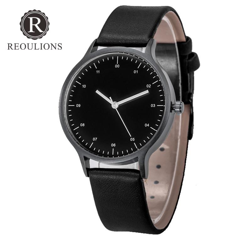 Reoulions Top Luxury Fashion Unisex Minimalist Watch Leather Quartz