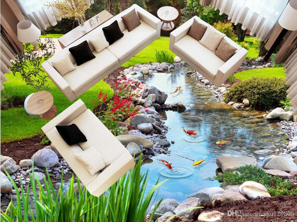 3 차원 pvc 바닥 맞춤형 사진 방수 플로어 룸 자연 공원 스톤 크릭 송어 빨 벽지 3D 벽 벽화 벽지 3 d