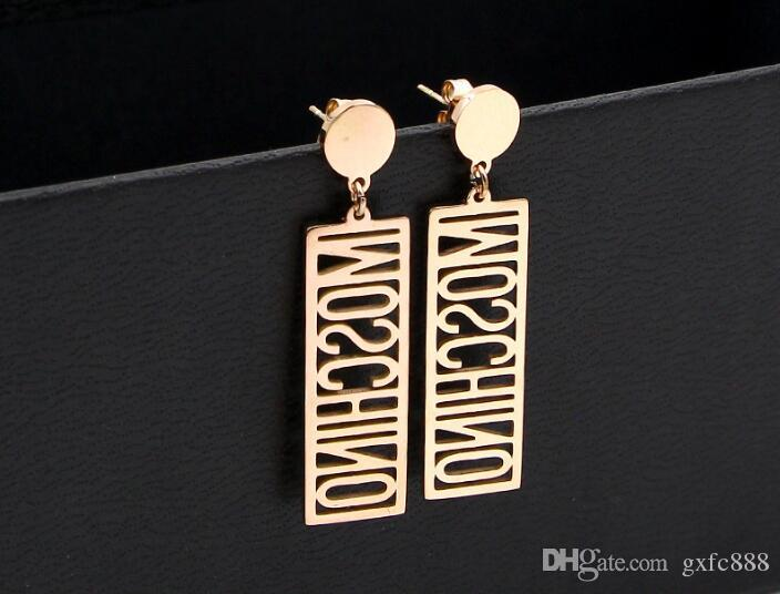 Information hollow English alphabet rectangular pendant titanium steel plated rose gold earrings tide female wild color gold earrings
