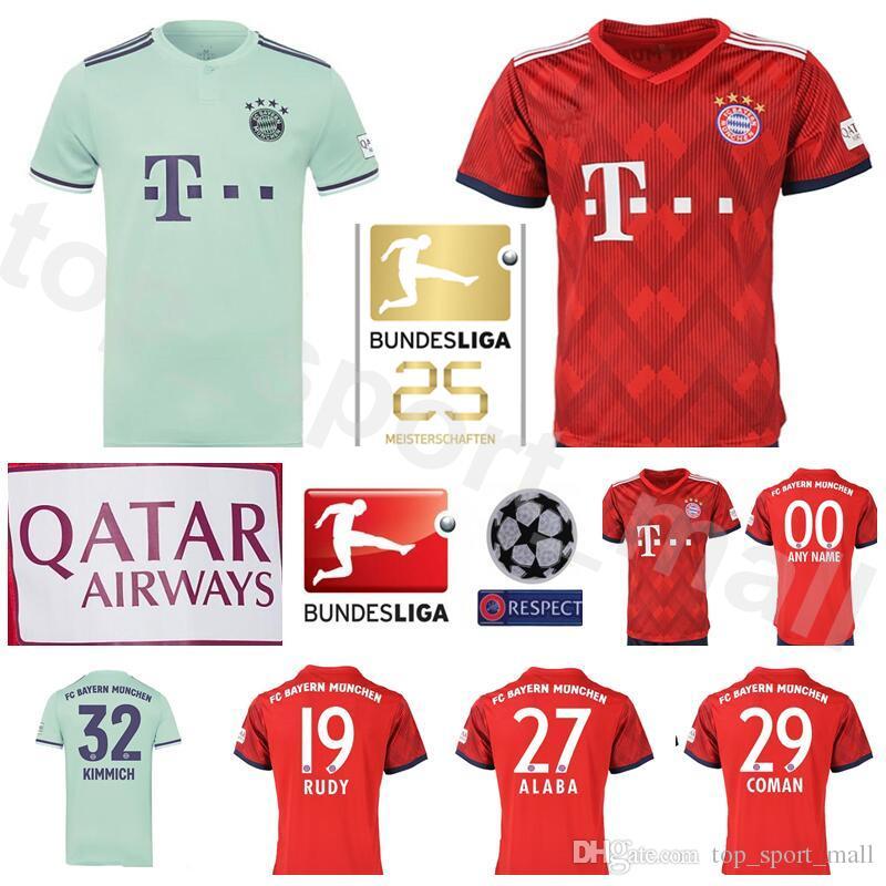 hot sale online b70e3 37a4b Men FC Bayern Munchen Bundesliga Soccer ALABA Jersey 29 COMAN 24 TOLISSO 32  KIMMICH 19 RUDY Football Shirt Kits Red Custom Name Number