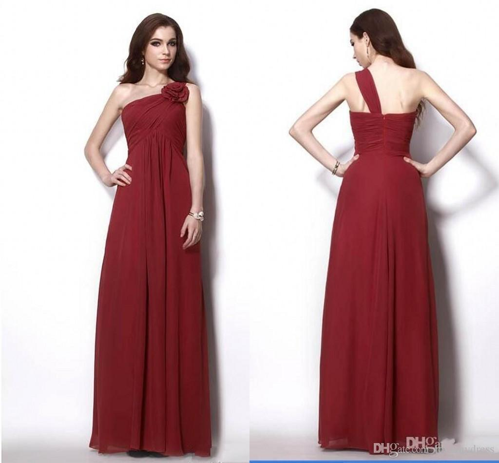 8c9a891988e Wine Red One Shoulder Long Cheap Bridesmaid Dresses With Handmade Flowers  Empire Chiffon Pleated Wedding Party Formal Prom Dress Gowns Bridesmaid  Dresses ...