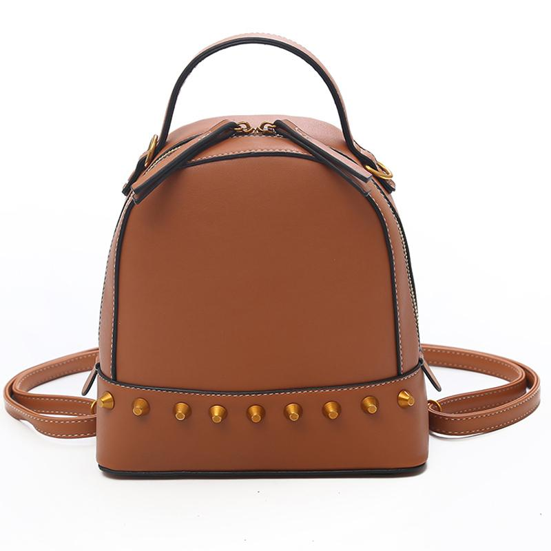 Wholesale Solid High Quality PU Leather Backpack Women Rivet Designer  School Bags For Teenagers Girls Luxury Shoulder Bags Women Backpacks  Rucksack Jansport ... ad0954a236507