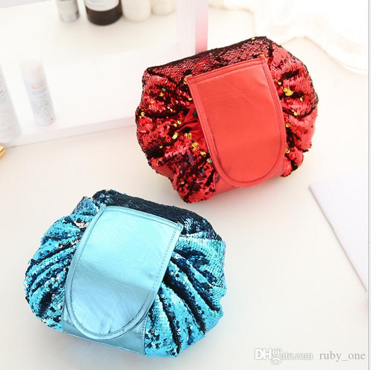b0eec76c3daa 2019 Magic Mermaid Sequins Travel Pouch Lazy Drawstring MakeUp Bag Women  Organizer Storage Vely Vely Lazy Drawstring Cosmetic Bag KKA4177 From  Ruby one