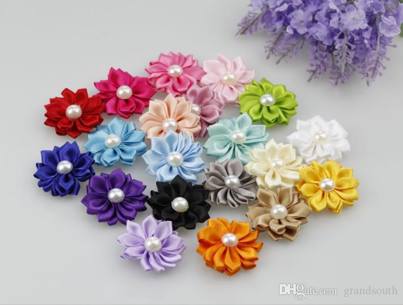 4cm DIY Artificial Satin Flowers with Pearl Hair Accessories diy without Clips Available