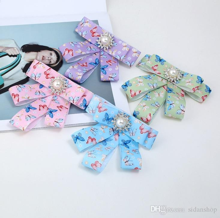 2018 New Design Geometric Multilayer Ribbons Bow Tie Brooches Charm Collar Corsage Brooch Fashion Jewelry