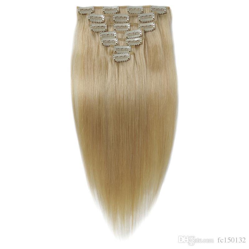 "/Pack Clip Ins Hair 10""- 24"" Bleach Blonde Brazilian Remy Straight Hair 100% Clip in Human Hair Extensions"