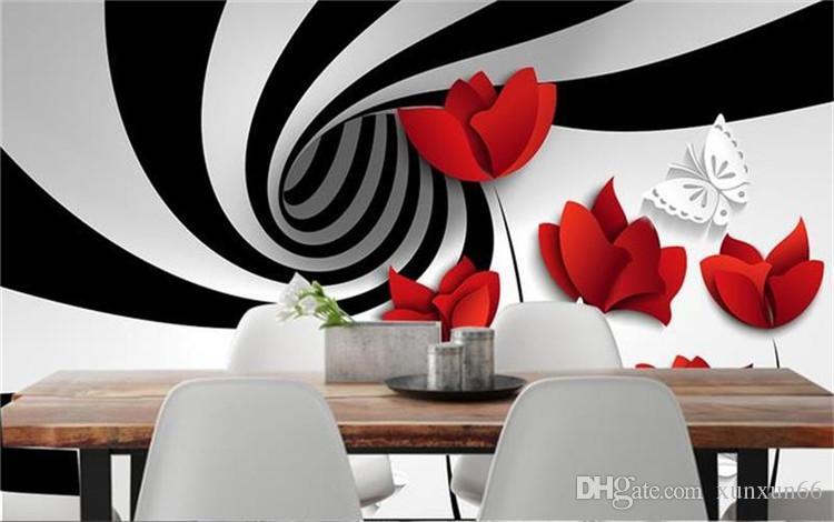Foto personalizzata 3d carta da parati Non tessuto murale nero strisce bianche fiori decorazione pittura 3d murales carta da parati pareti 3d