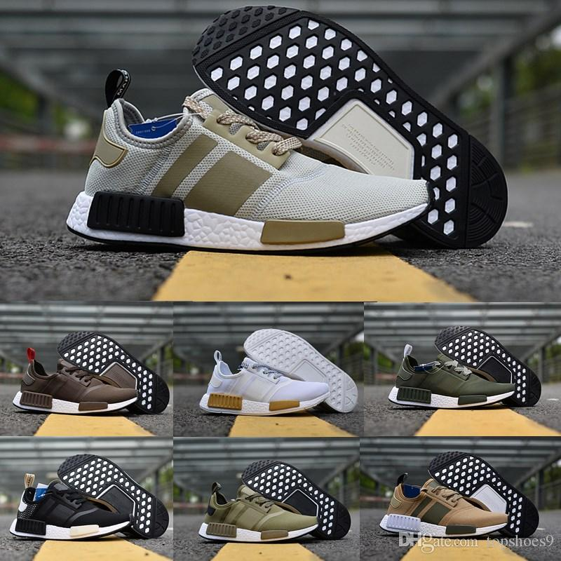 hot sale online c94dd 7dcc2 New NMD Japan Pack Triple White BZ0221 Triple Black BZ0220 Real R1  Primeknit Running Shoes Small nipples mens women Boots