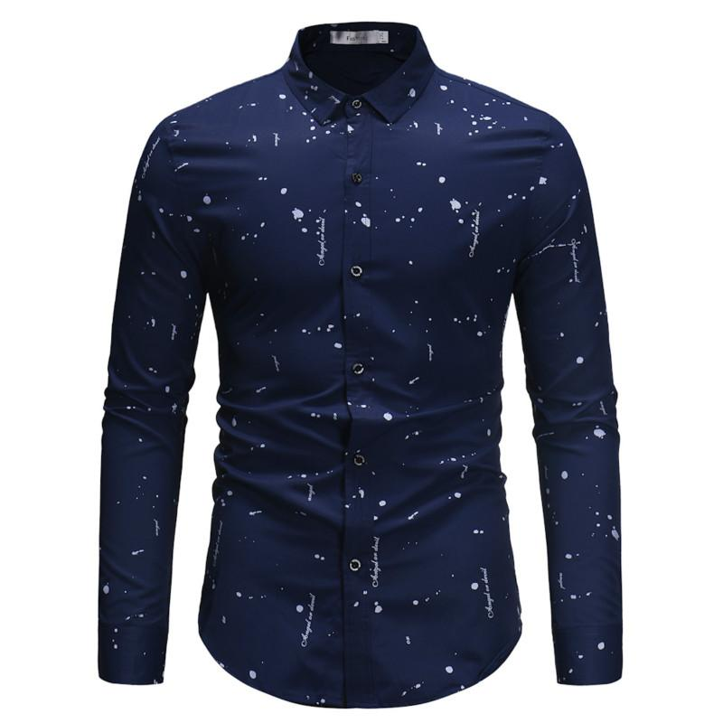 0beb42c2dcb Men Shirt 2019 New Fashion Irregular Print Camisa Masculina Cotton Long  Sleeve Shirt Casual Slim Fit Men Business Dress Casual Shirts Cheap Casual  Shirts ...