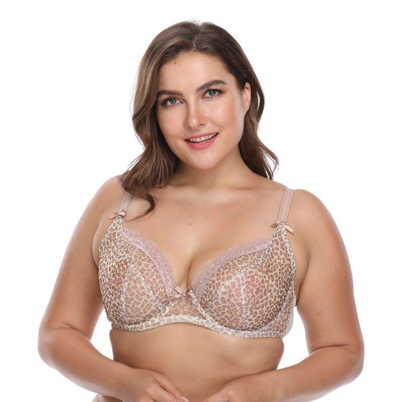 b7b2ca30b Plus Size DEFG Push Up Bra Ultra Boost Brassiere Leopard Bras Women  Intimates Underwire Underwear deep V sexy big Size Lingerie