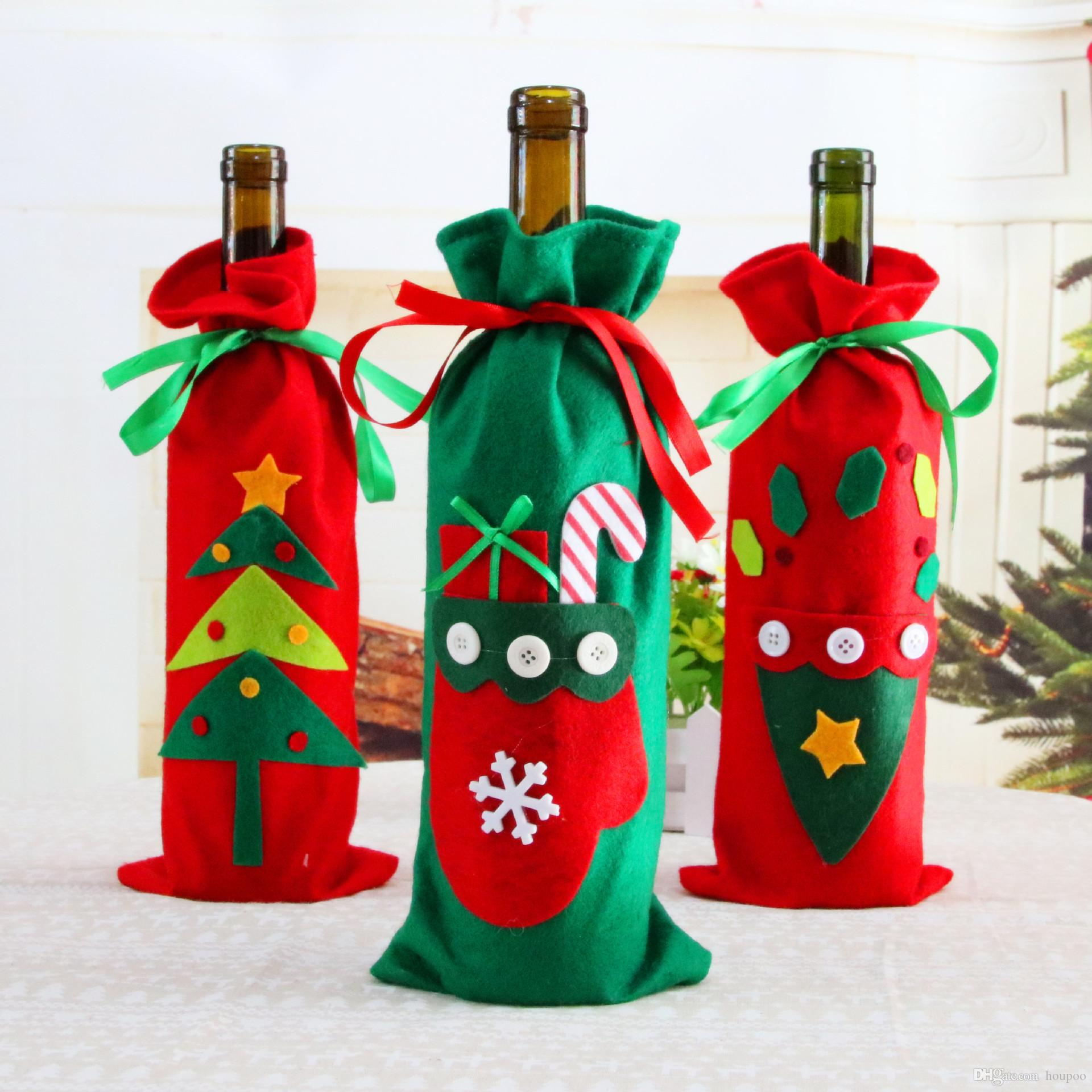 christmas tableware santa claus fabric 3 styles ornaments xmas wine bottle cover bag dinner party table decor designer christmas decorations discount - Designer Christmas Decorations