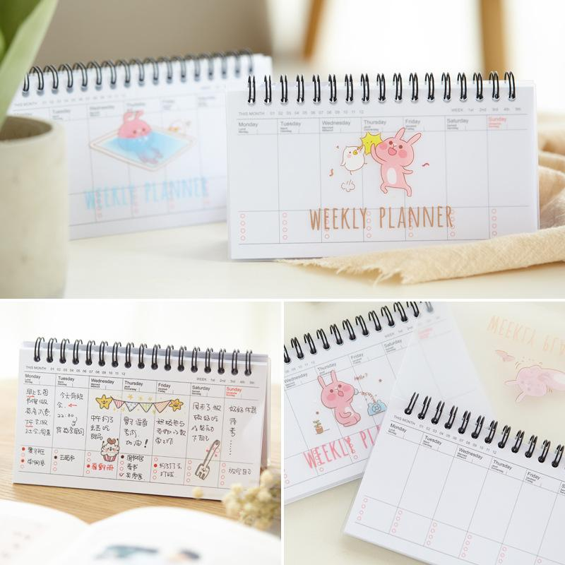 photograph about Cute Weekly Planners named Adorable Kawaii Cartoon Weekly Planner Coil Laptop computer Korean Stationery Plan Filofax For Youngsters Present