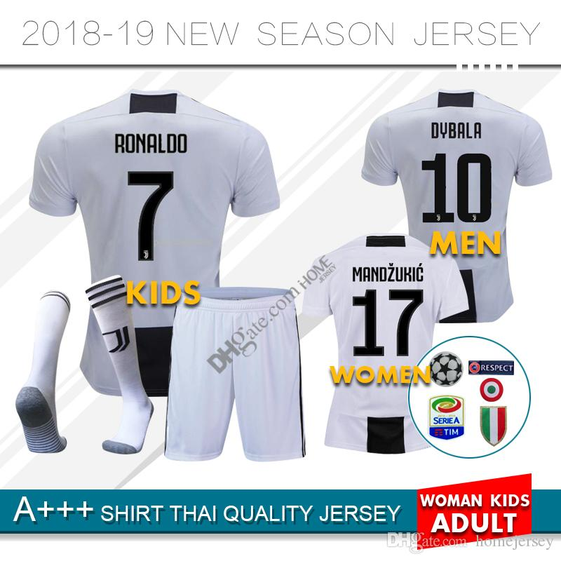 24540e263 2019 18 19 Juventus RONALDO DYBALA HIGUAIN Home Kids Kit Soccer Jersey 2018  2019 Juve MARCHISIO MANDZUKIC CHIELLINI BUFFON Child Football Shirt U From  ...