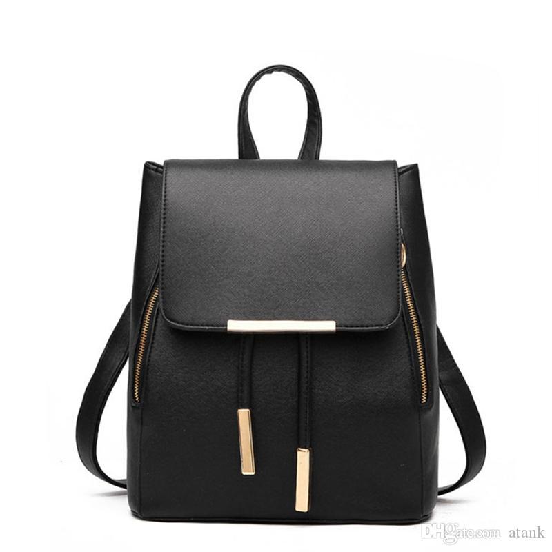 4bdeef7d5c711 Satın Al Basit Moda Saf Renk Rahat Sırt Çantası Hasp PU Deri Seyahat Tiki  Koleji Tarzı Çift Omuz Çantaları, $22.11 | DHgate.Com'da