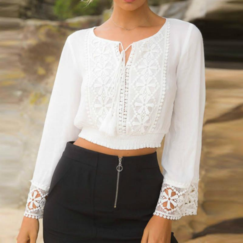 7748636877337 Fashion White Lace Women 2019 Summer Chiffon Casual Long Sleeve Girls Beach Crop  Tops Cool Blouses Shirts S-XL Online with  33.89 Piece on Your02 s Store ...