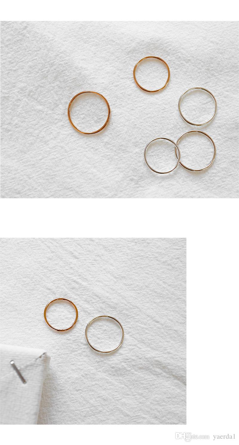 1.2 Line Korean version of the Korean version of the S925 sterling silver simple smooth gold rose gold ring ring gold chain necklace jewelry